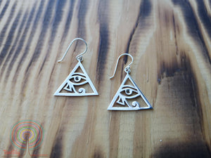 triangle eye nature - sterling silver earrings jewelry Tantilly