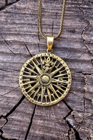 Jean North compass Gold brass necklace jewelry Tantilly