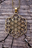 Flower & Seed Of Life The Mix Version Design - Gold Brass Necklace