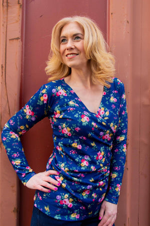 BIA Tantilly Twisted Top Blue - Flowers and Fun shirt Tantilly