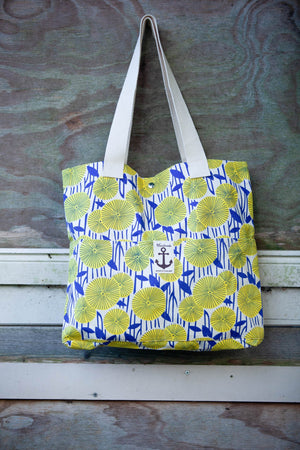 retro blue vibes cotton bag bag Tantilly