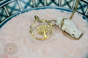 Leaf circle Tree of Life - gold brass necklace jewelry Tantilly