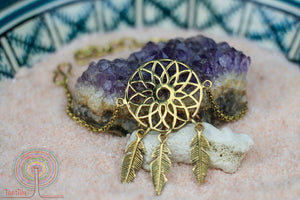 Lotus flower / dreamcatcher bracelet - unique design jewelry Tantilly