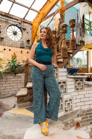 Indira silk pants-new retro pants made by Tantilly- romantic flowers pants Tantilly