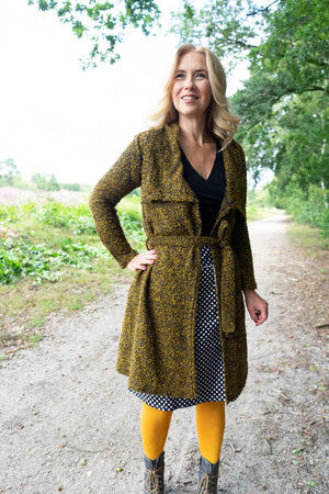 New long cardigan - ocher yellow - made by Tantilly cardigan Tantilly