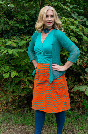 Sherry cotton corduroy skirt - orange green dots Corduroy skirt Tantilly