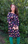 Hannet dress - blackish bloemen print Tantilly Flower print Clothing Tantilly