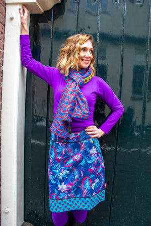 Wrap Top - Cotton Stretch bright purple long sleeves shirt Tantilly