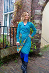 Reversible winter dress- 100% cotton wrap dress - galaxy turquoise retro blue Reversible dress Tantilly