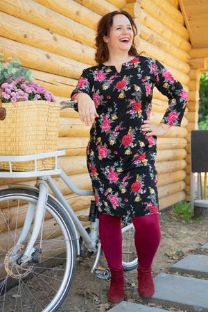 Devi dress - classic rose Three quarter sleeves Tantilly