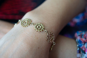 The chakra bracelet - gold brass necklace jewelry Tantilly