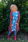 Sophia autumn dress - blue poppy garden three quarter sleeves Tantilly