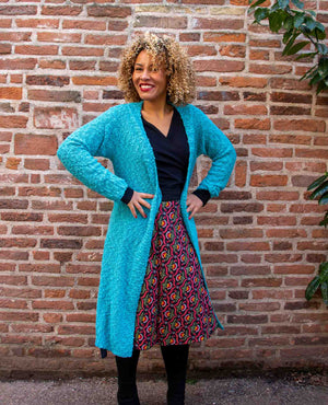 New warm winter cardigan -Noa nova- aquamarijn - made by Tantilly Winter / Najaar cardigan Tantilly