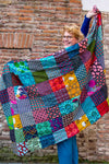 Cotton patchwork scarf -XL size- made from recycled cotton by tantilly Scarves Tantilly