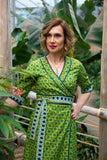 Reversible wrap dress 100% cotton - retro peacock