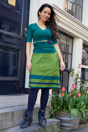 Elissa cotton skirt- Green retro happiness in a skirt Cotton skirt Tantilly
