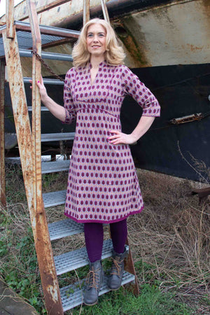 Tantilly's Bellflower cotton Dress - Retro Purple spring cotton dresses Tantilly