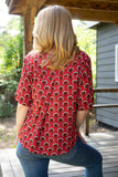 New summer top - red feather peacock shirt Tantilly