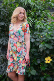 Flamenco wrap spring dress short sleeves - vintage flowers Wrap dress Tantilly