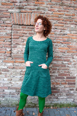 Ava winter dress- green -warm winter fabric made by Tantilly Every day dress Tantilly