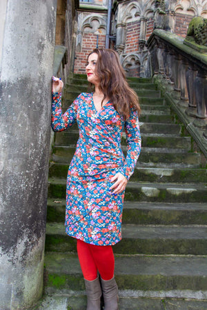 Zoe winter dress - petrol flower power- warm fabric made by Tantilly Made by tantilly tantilly