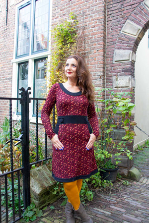 Peggy winter dress- retro love flowers- happy warm dress- made by Tantilly winter dresses tantilly