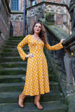 Sofia trumpet dress- new yellow color retro print Every day dress Tantilly
