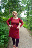 Lolo winter dress - warm red retro- warm winter fabric winter dresses Tantilly