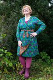 Reversible winter dress- 100% cotton wrap dress -vintage forest Reversible dress Tantilly