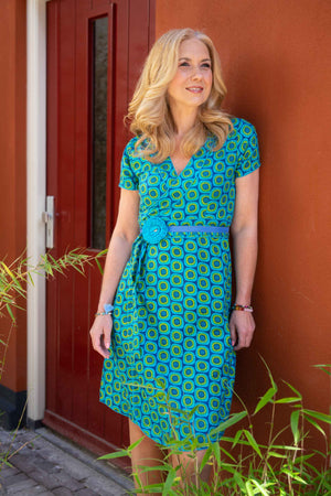 New!!! 100% cotton single wrap dress - clear blue water summer dresses Tantilly