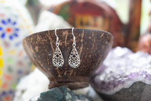Drop mandala- sterling silver earrings jewelry Tantilly