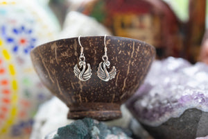 Lucky swan - sterling silver earrings jewelry Tantilly