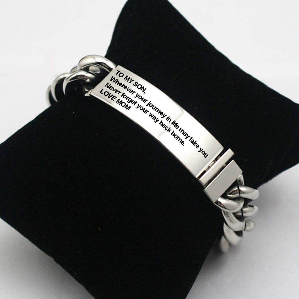 To My Son Silver Bracelet