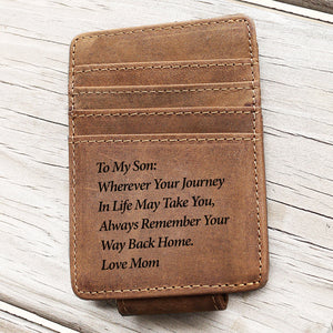To My Son From Mom Minimalist Wallet