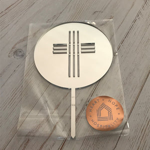Silver Mirror Round Cake Topper with Cross