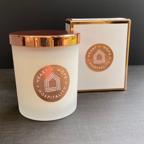 Candle - Frosted with rose gold lid