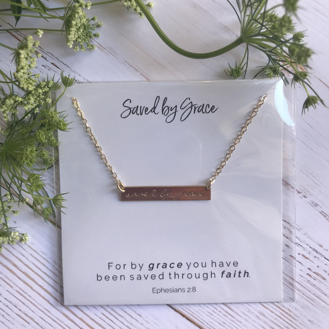 Saved by Grace Bar Necklace