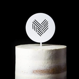 White Acrylic Round Cake Topper with heart