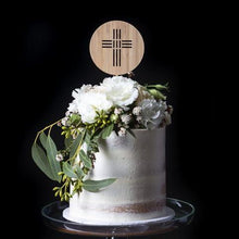 Engraved Round Timber Cake Topper with cross