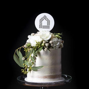 White Acrylic Round Cake Topper with House
