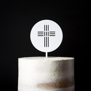 White Acrylic Round Cake Topper with cross