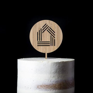 Engraved Round Timber Cake Topper with House