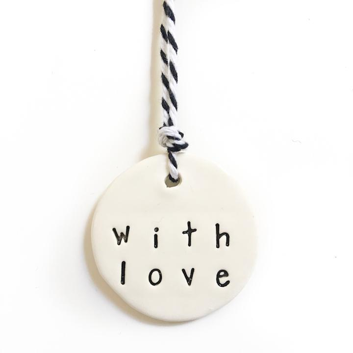 Handmade ceramic tag With Love