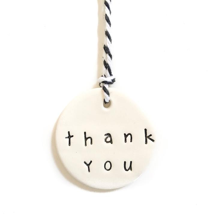Handmade ceramic tag Thank You