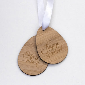 He Is Risen wooden tag