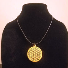 Gold Flower of Life Necklace - Braided Leather