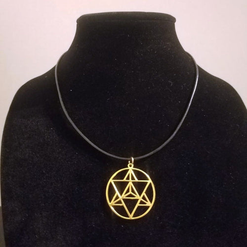Gold Merkaba Necklace - Braided Leather - Sacred Geometry Pendant