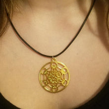Gold Metatron's Cube Necklace - Braided Leather - Sacred Geometry