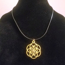 Gold Seed of Life Necklace - Braided Leather - Sacred Geometry Pendant