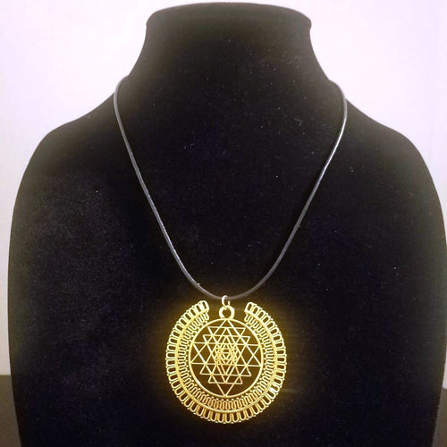 Gold Sri Yantra Necklace - Full Halo - Braided Leather - Mediation